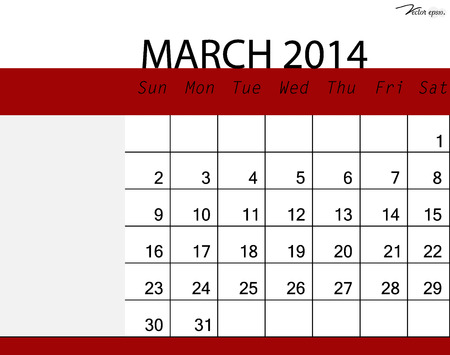 Simple 2014 calendar, March. Vector illustration. Vector