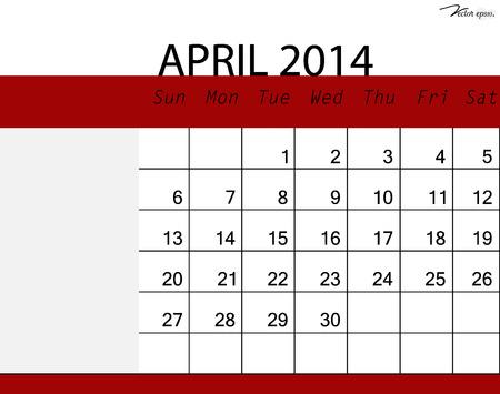 Simple 2014 calendar, April. Vector illustration. Vector