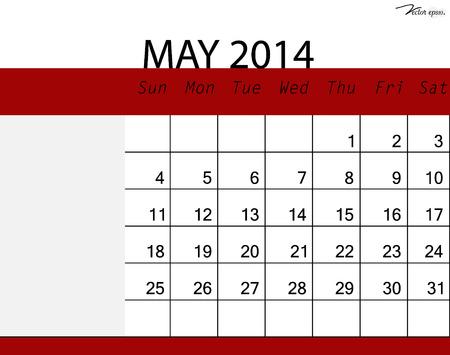 Simple 2014 calendar, May. Vector illustration. Vector