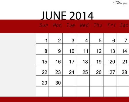 Simple 2014 calendar, June. Vector illustration. Vector