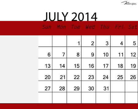 Simple 2014 calendar, July. Vector illustration. Vector