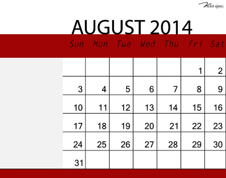 Simple 2014 calendar, August. Vector illustration. Vector