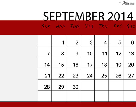 Simple 2014 calendar, September. Vector illustration. Vector