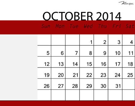 kalender oktober: Eenvoudige 2014 kalender, oktober. Vector illustratie.
