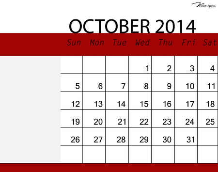 Simple 2014 calendar, October. Vector illustration. Vector