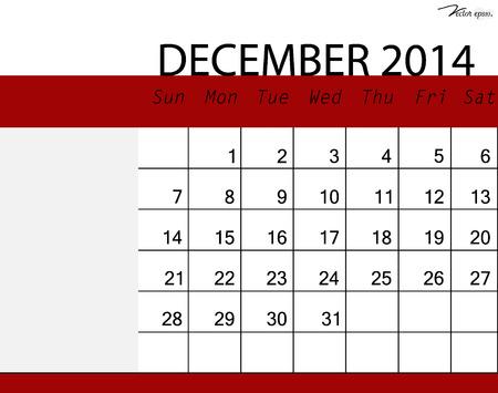 Simple 2014 calendar, December. Vector illustration. Vector