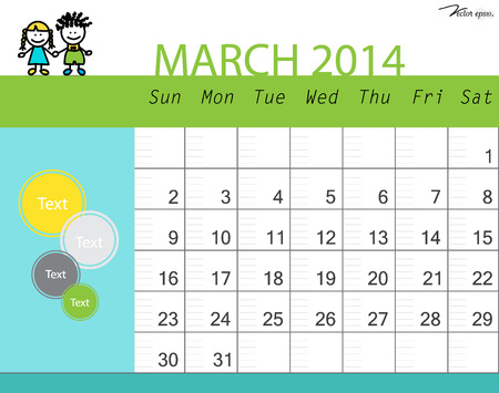 Simple 2014 calendar, March. Vector illustration. Vector