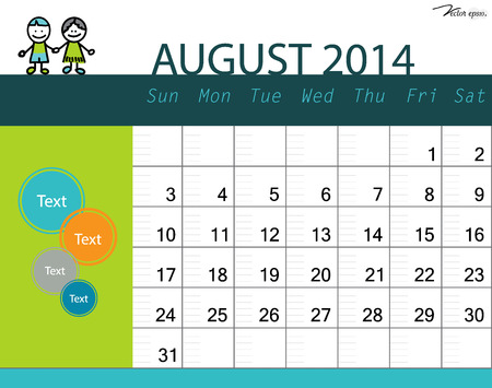 Simple 2014 calendar, August. Vector illustration. Vector