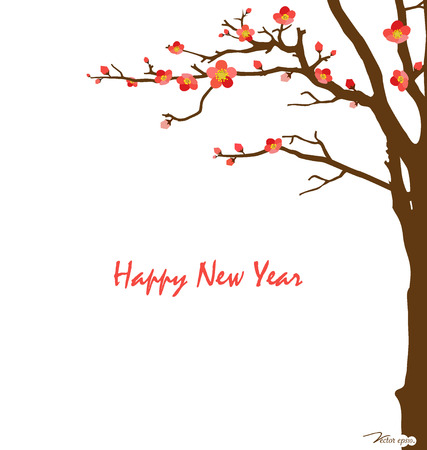 chinese new year card: Chinese New Year card with cherry blossom. Vector illustration.