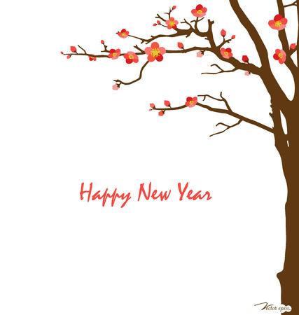 ciliegio in fiore: Scheda del nuovo anno cinese con fiori di ciliegio. Illustrazione vettoriale.