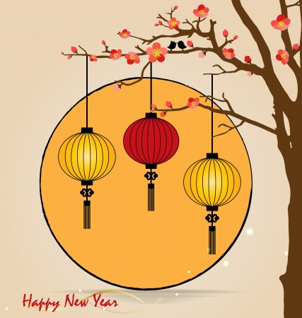 mooncake festival: Big traditional chinese lanterns will bring good luck and peace to prayer during Chinese New Year. Vector Illustration.