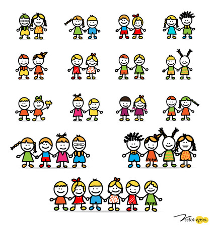 Set of cute happy cartoon kids. Vector illustration. Vector