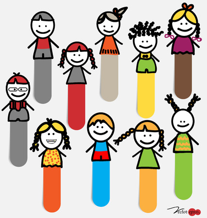 sticky notes: Leuke vrolijke cartoon kinderen, sticky notes. Vector illustratie.