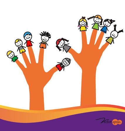 かわいい幸せ漫画子供の指で。ベクトル イラスト。