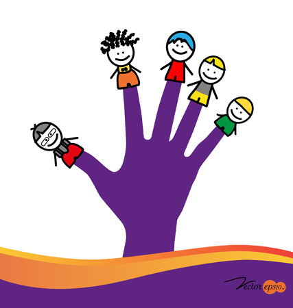 Cute happy cartoon kids on fingers. Vector illustration. Vector