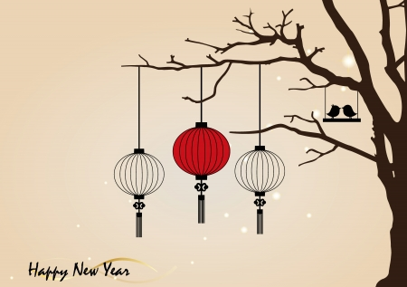 chinatown: Big traditional chinese lanterns will bring good luck and peace to prayer during Chinese New Year. Vector Illustration.