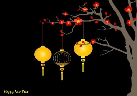 Big traditional chinese lanterns will bring good luck and peace to prayer during Chinese New Year. Vector Illustration. Vector