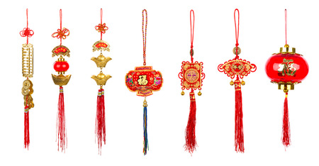 Chinese new year decoration on white background