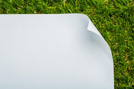 papier vierge: Papier blanc sur fond d'herbe verte