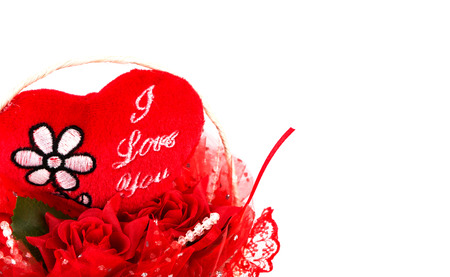 Red heart gift  on white background photo