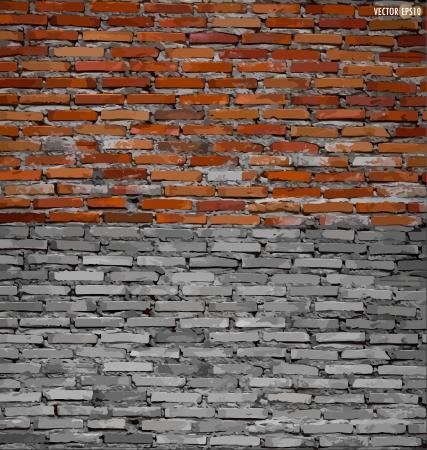 brickwork: Collection of brick wall background. Vector illustration. Illustration