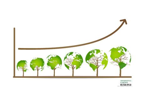 グリーン経済概念: 持続可能な環境ビジネスの成長のグラフ。ベクトル イラスト。