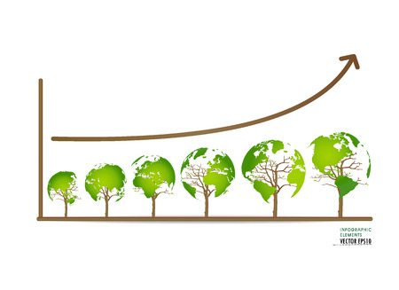 growth: Green economy concept : Graph of growing sustainable environment with business. Vector illustration.