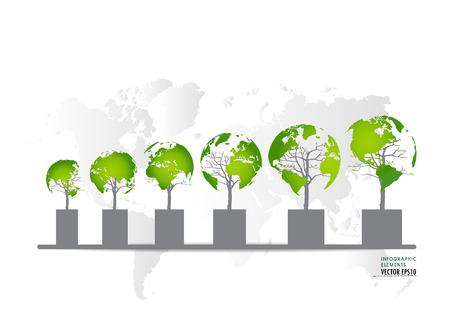 �conomie verte: Concept d'�conomie verte: Graphique de plus en plus l'environnement durable avec les entreprises. Vector illustration. Illustration