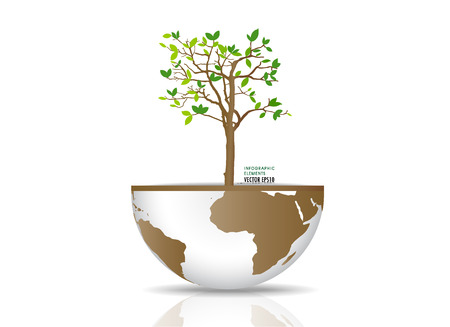 Tree on a globe. Vector illustration.