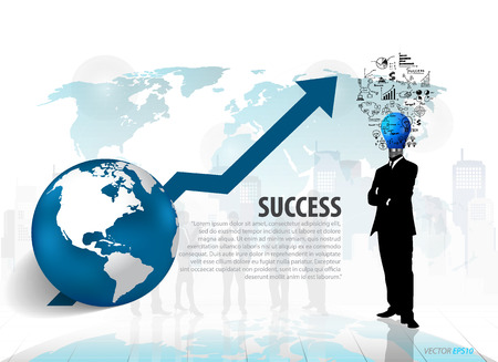 headed: Bulb headed man standing in abstract business background. Vector illustration.
