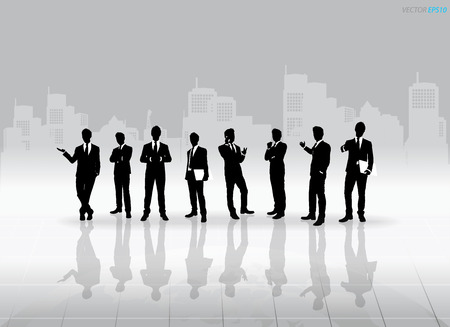 Businessman Silhouettes with building background. Vector illustration. Vector