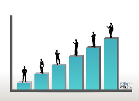 Businessman standing on graph. Vector illustration. Vector