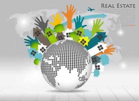 real estate house: Real Estate House on green earth. Vector illustration. Illustration