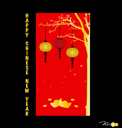 mooncake festival: Chinese New Year Greeting Card. Vector Illustration. Illustration