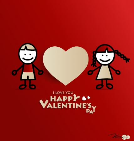 Loving boy and girl with paper heart shape symbol for Valentines day. Vector illustration. Vector