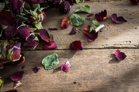 Dried rose on old wood background photo