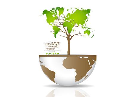 land development: Tree on a globe. Vector illustration.