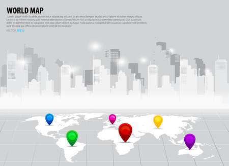 Map pointers and world map. Vector illustration. Vector