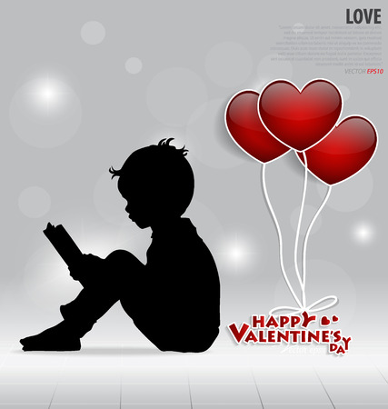 Red heart balloons for Valentines day. Vector illustration. Vector