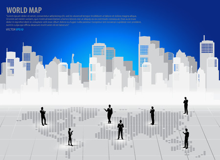 businessman shoes: Business people silhouettes with building background. Vector illustration.