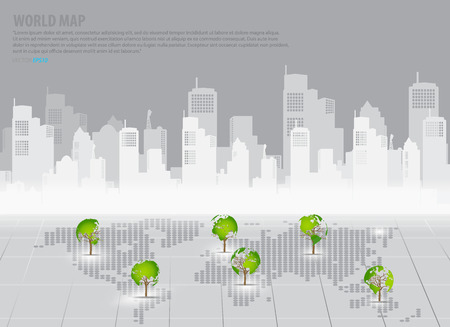 Green economy concept : Tree shaped world map with building background. Vector illustration. Vector