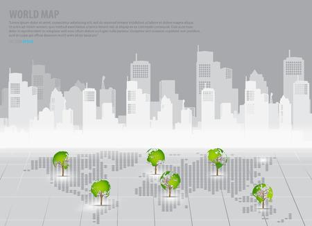 �conomie verte: Vert concept d'�conomie: carte en forme de l'arbre du monde avec fond immeuble. Vector illustration. Illustration