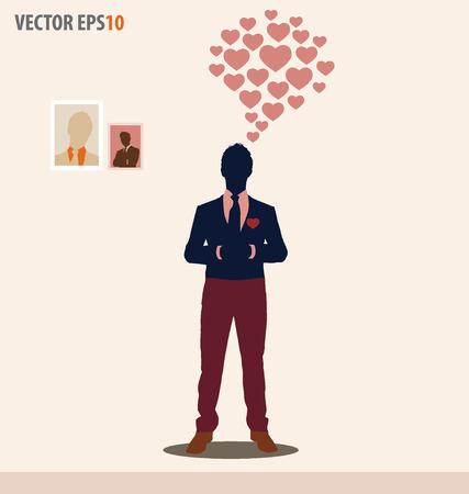 Businessman with cloud of heart. Vector illustration. Vector