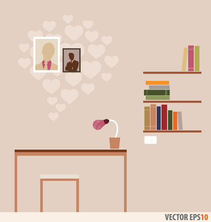 Workstation and bookshelf with heart wallpaper. Vector Illustration. Vector