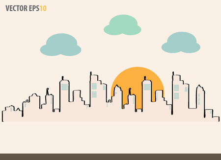 Cityscape, sketch drawing for your design. Vector Illustration. Vector