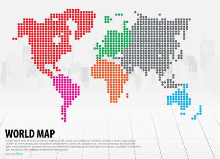 World map with continents. Vector illustration. Vector