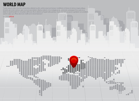 needle tip: World map with continents (Europe). Vector illustration. Illustration