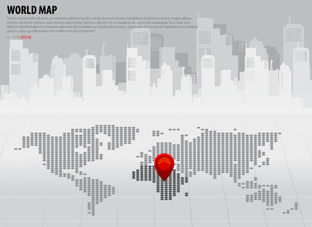 World map with continents (Africa). Vector illustration. Vector