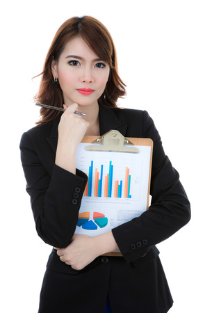 Business woman hold clipboard paper with finance chart isolated over white background Stock Photo