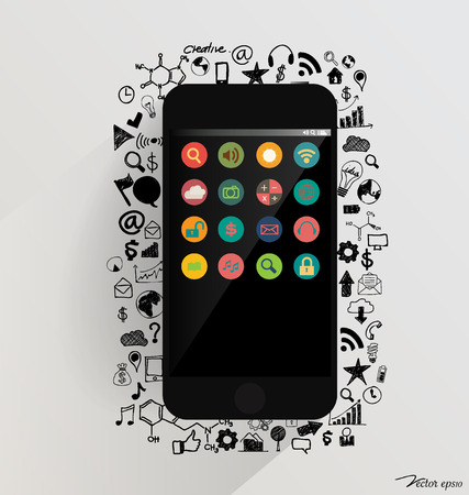 Touchscreen device with application icon. Vector illustration. Vector